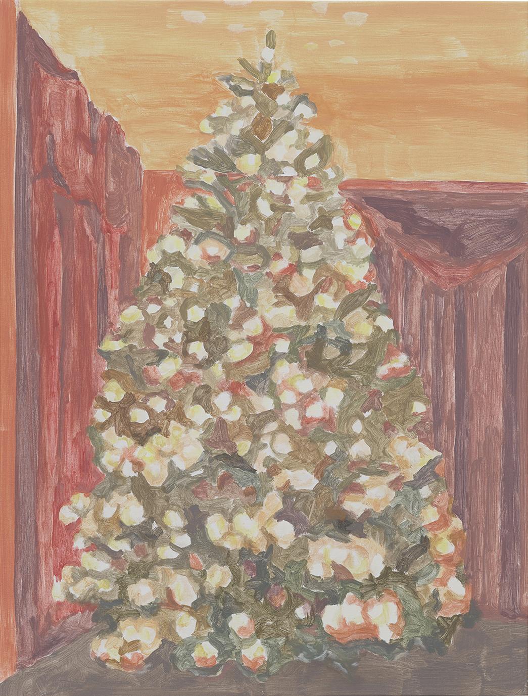 Xmas Tree (velvet curtains), acrylic on canvas, 32 x 24.25 inches, 2016.