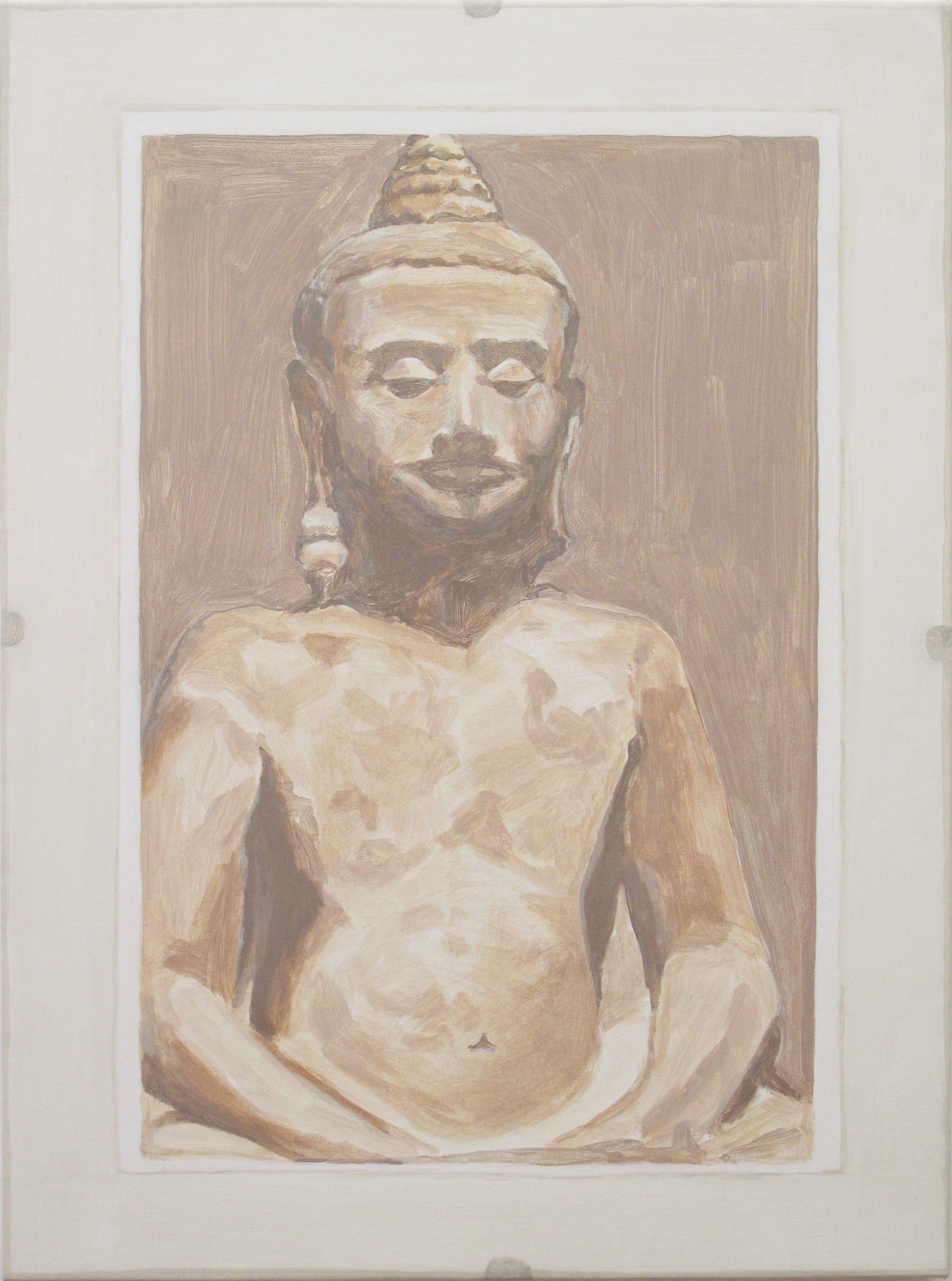 Framed Photo: Buddha, acrylic on canvas, 23 x 17 inches, 2016.