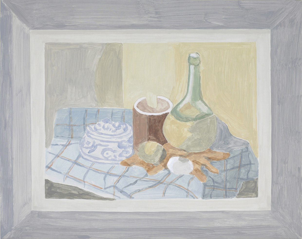 Framed Painting: Still Life with Bottle, acrylic on canvas over board, 18.5 x 23.5, 2013.   X2016.10,  Permanent.Collection, 2016.  Paintings of Paintings , Talley Dunn Gallery, 2012.