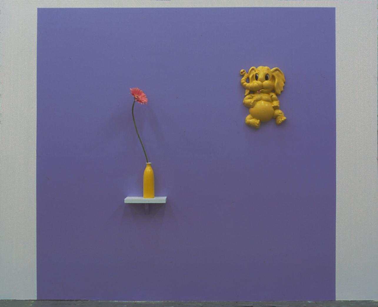 Serenade, latex paint, vase, plastic elephant, Gerbera daisy, 60 x 60 x 3 inches, 1998.