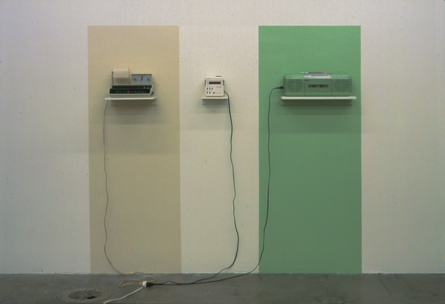 Tricolor, latex paint, 3 radios, shelves, 59 x 64 x 8 inches, 1998.