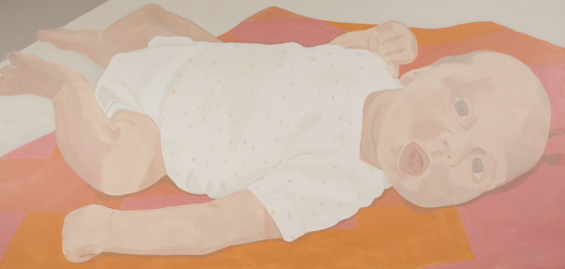 Baby with Spotted Shirt, acrylic on canvas, 81 x 168 inches, 2006.