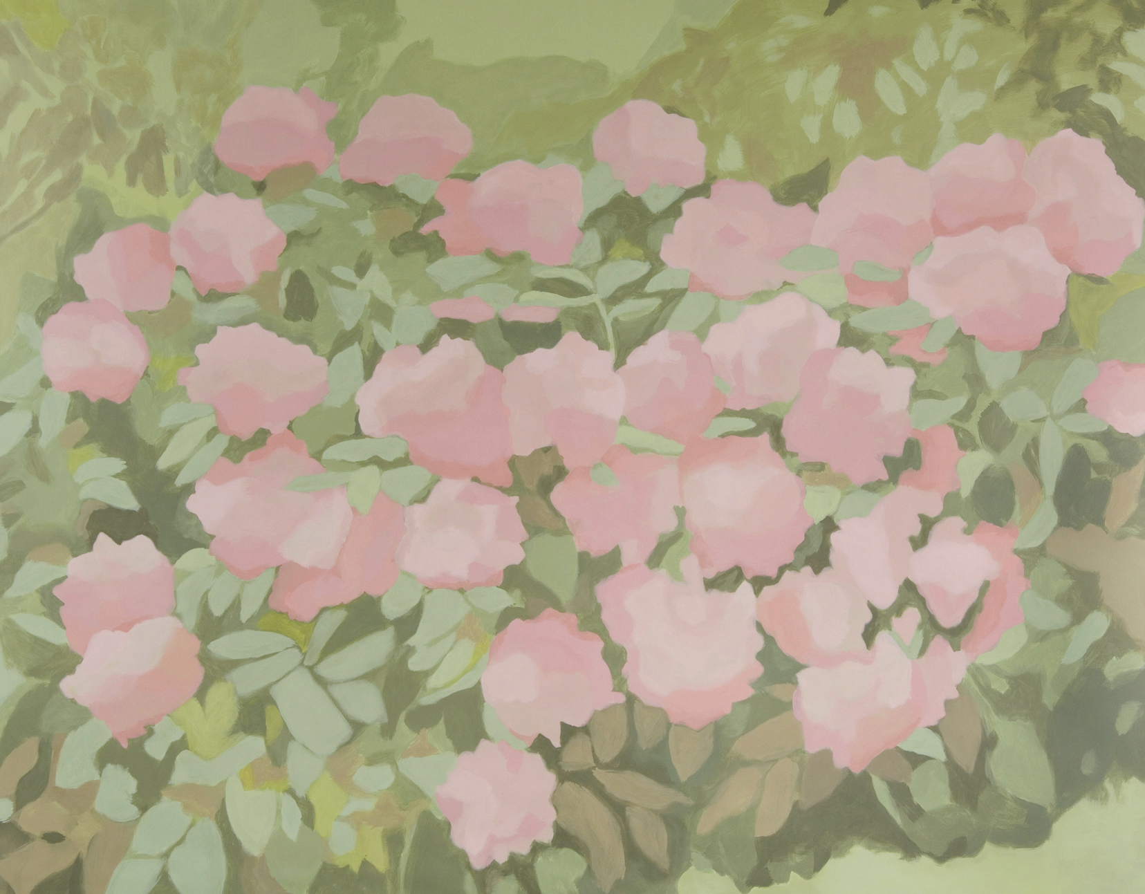 Pink Flower Bush, acrylic on canvas, 98 x 125 inches, 2007.