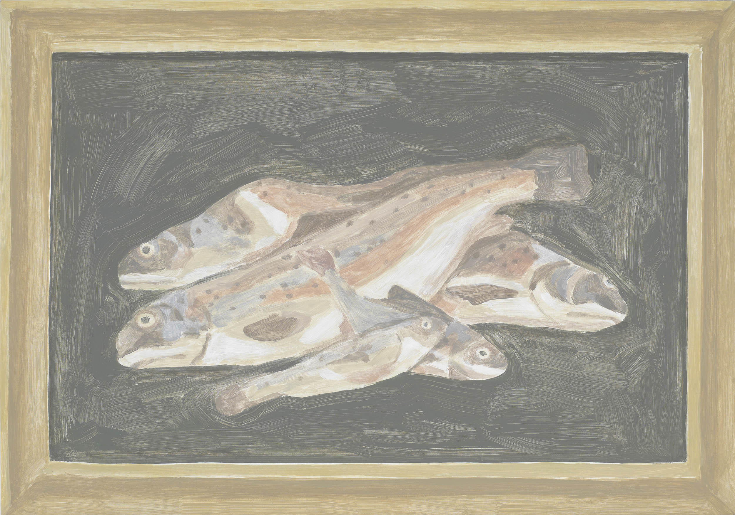 Framed Painting: Fish, acrylic on canvas, 17 x 24.25 inches, 2013.