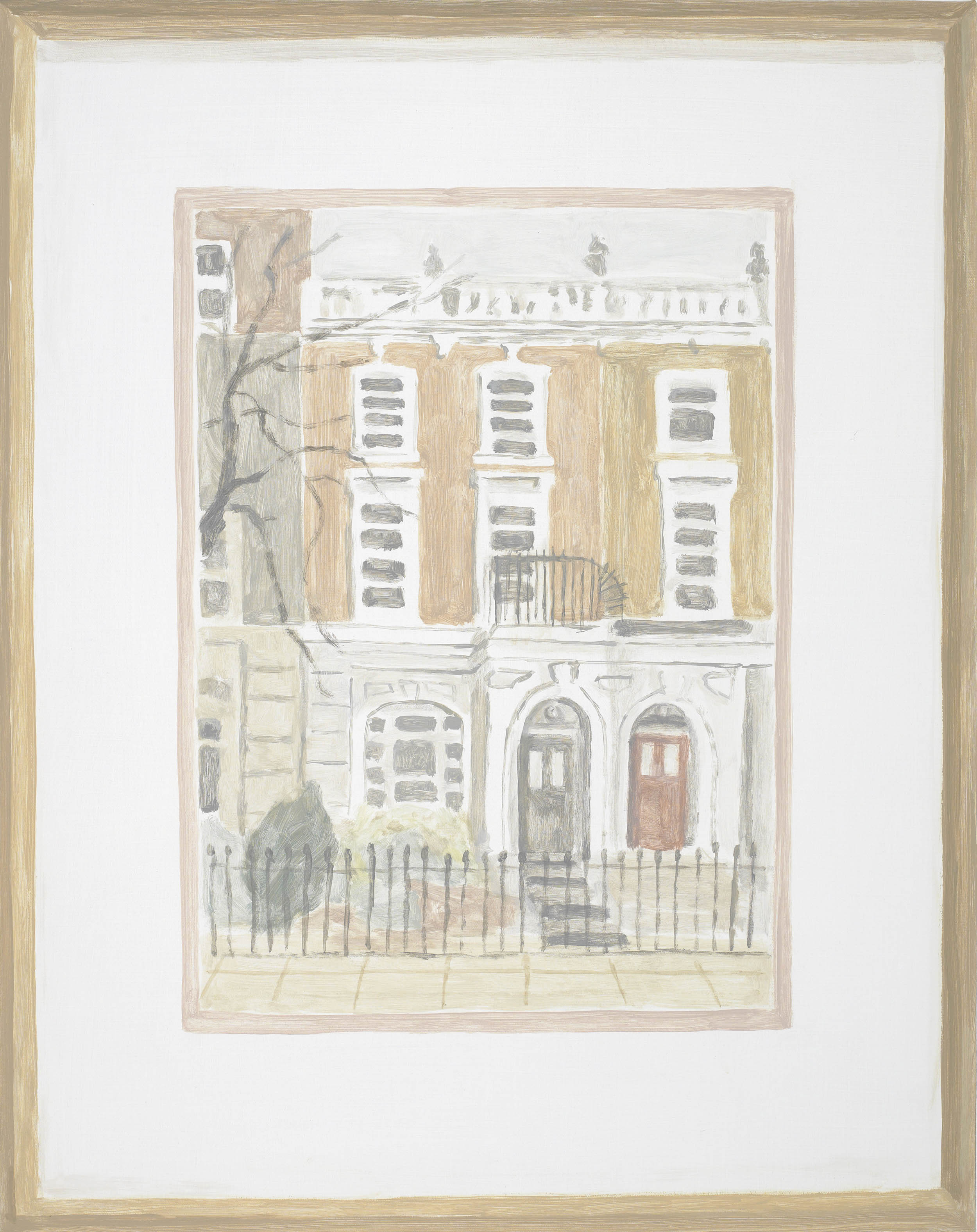 Framed Drawing: 10 Harley Gardens, acrylic on canvas, 24 x 19 inches, 2013.