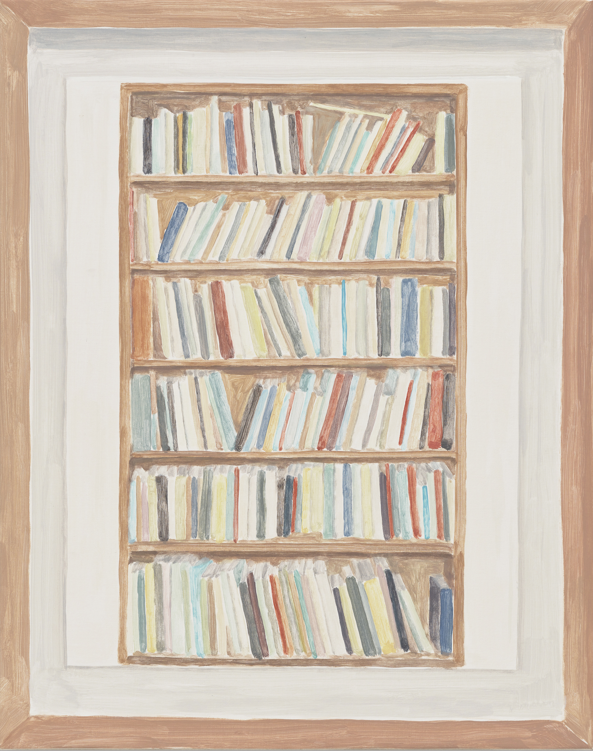 Framed Sketch: Bookshelf 2, acrylic on canvas, 24 x 19 inches, 2018.