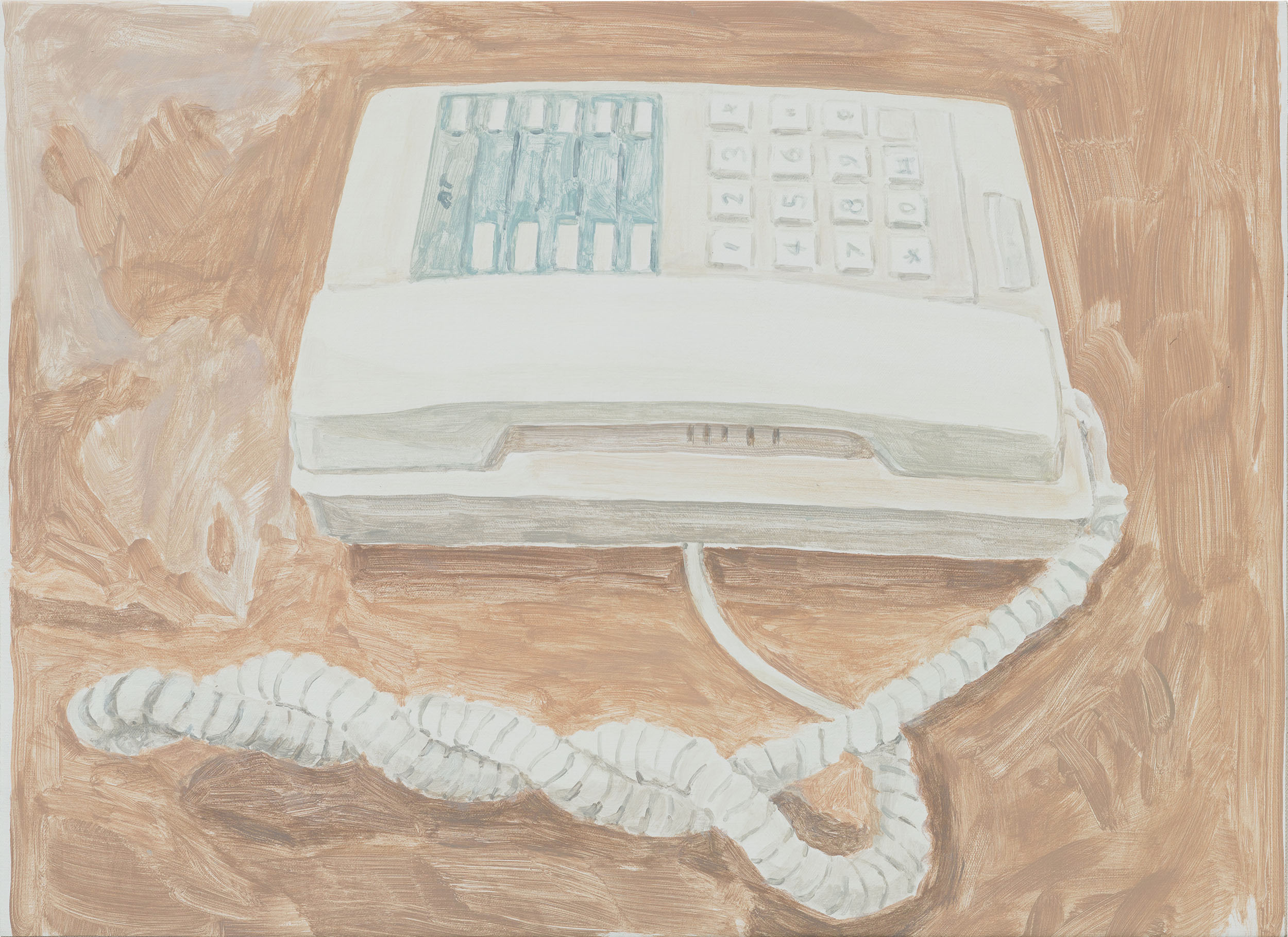 Telephone, acrylic on canvas over board, 16 x 22-1/4 inches, 2017.