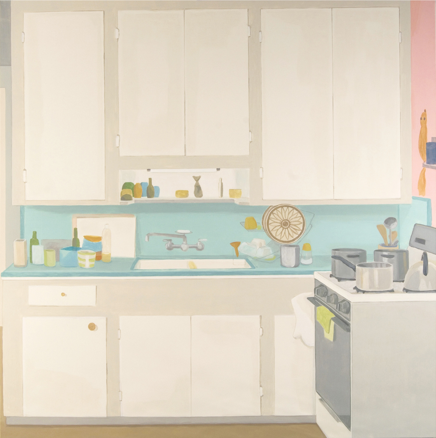 Kitchen, acrylic on canvas, 110 x 110 inches, 2006.  Perspectives 155,  Contemporary Arts Museum Houston , 2007.