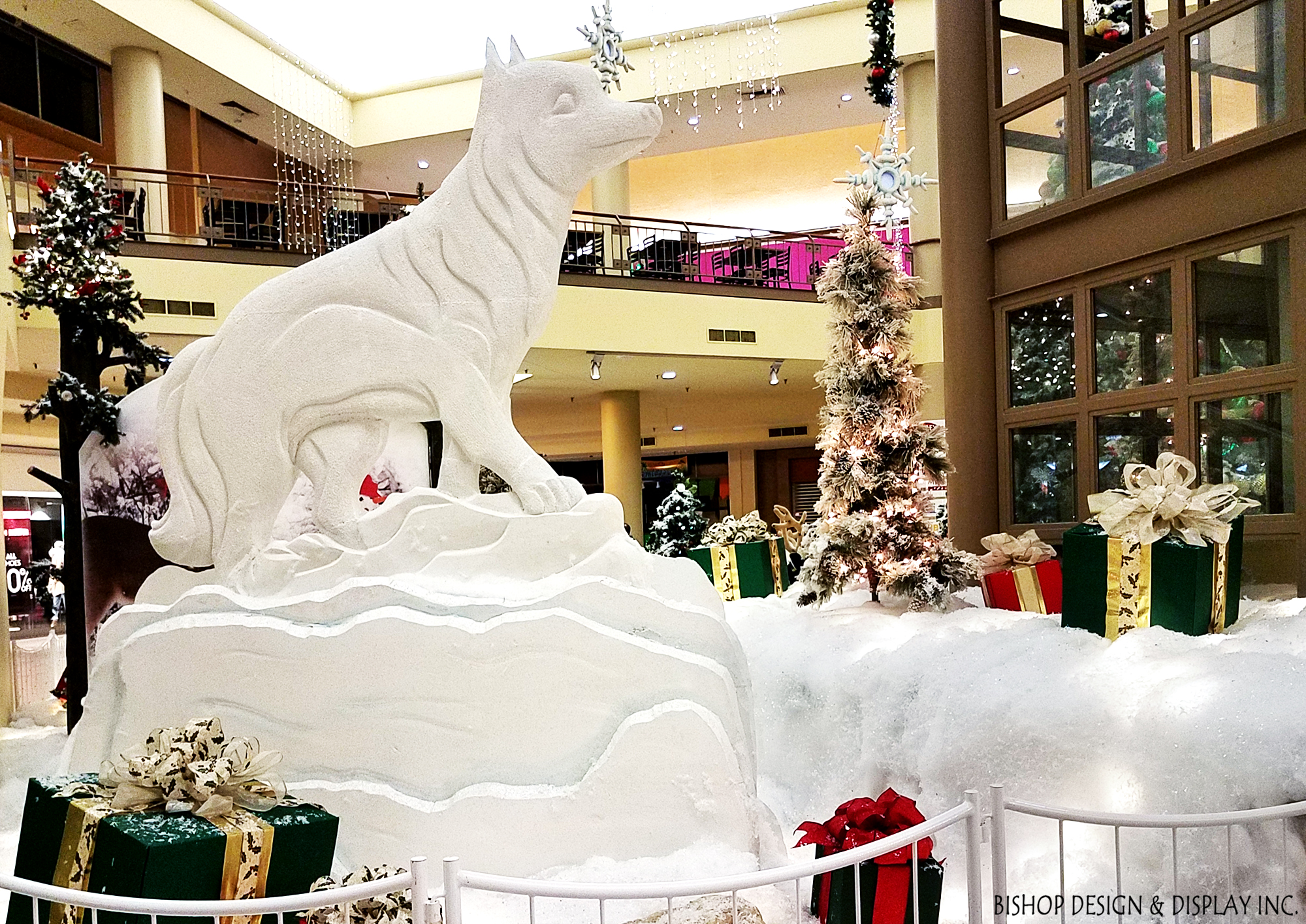 White Wolf Carved Statue
