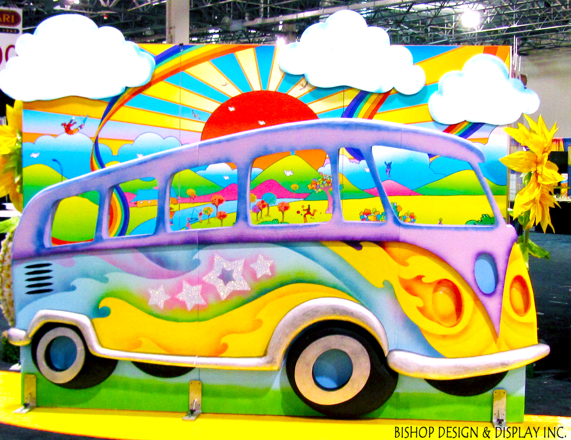 VW Bus with trippy background