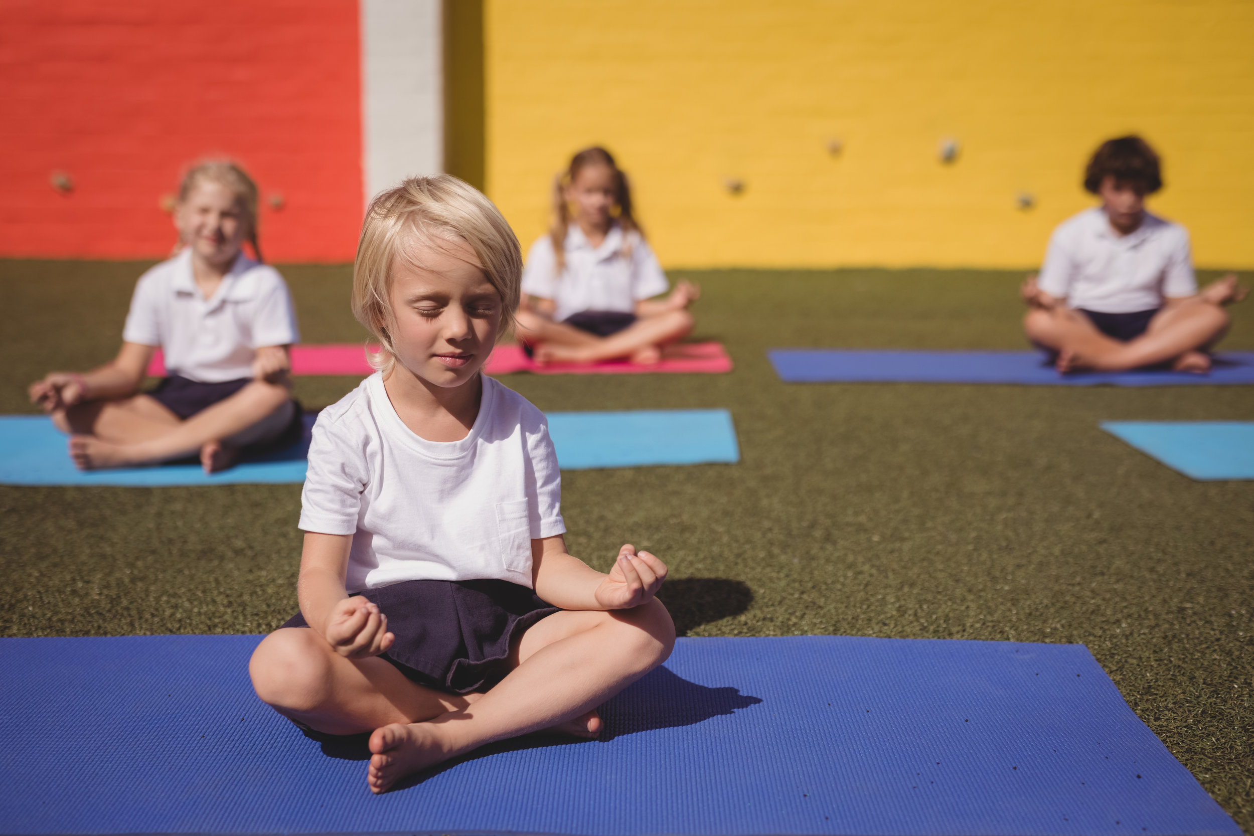 """The research suggests… - """"…that school-based yoga interventions show promise for enhancing positive behaviors, mental state, health, and performance. That the implementation of yoga in schools would be of significant value.""""➤ Learn the research"""