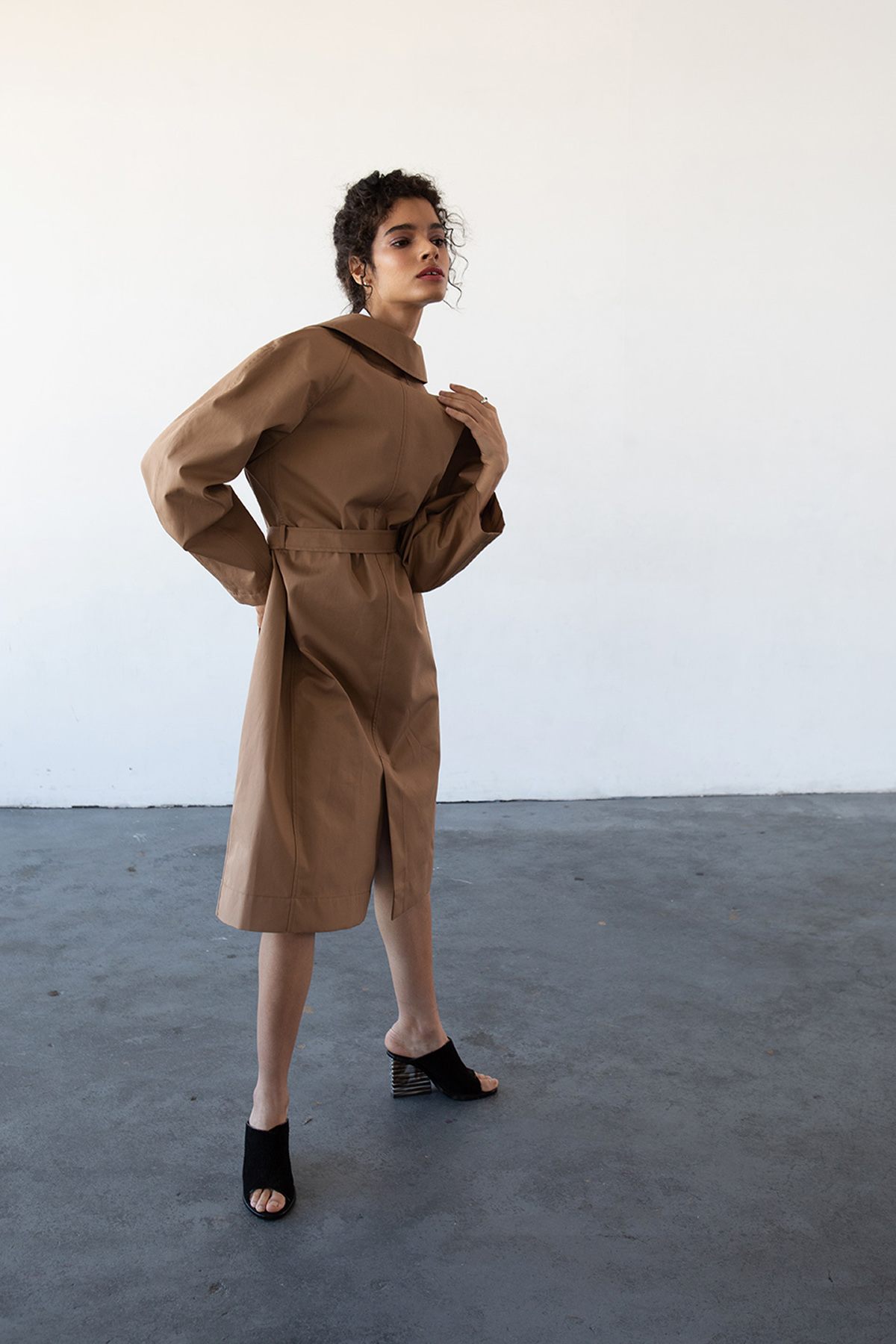 Haro in a raincoat styled shoot by Michele LoBosco, Los Angeles editorial photographer
