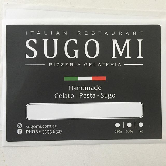 RMA does labels! These labels were done for local legends Sugo Mi on a gloss white PP Freezer Grade stock printed CMYK from art we created. If you need labels for your business get in touch today!