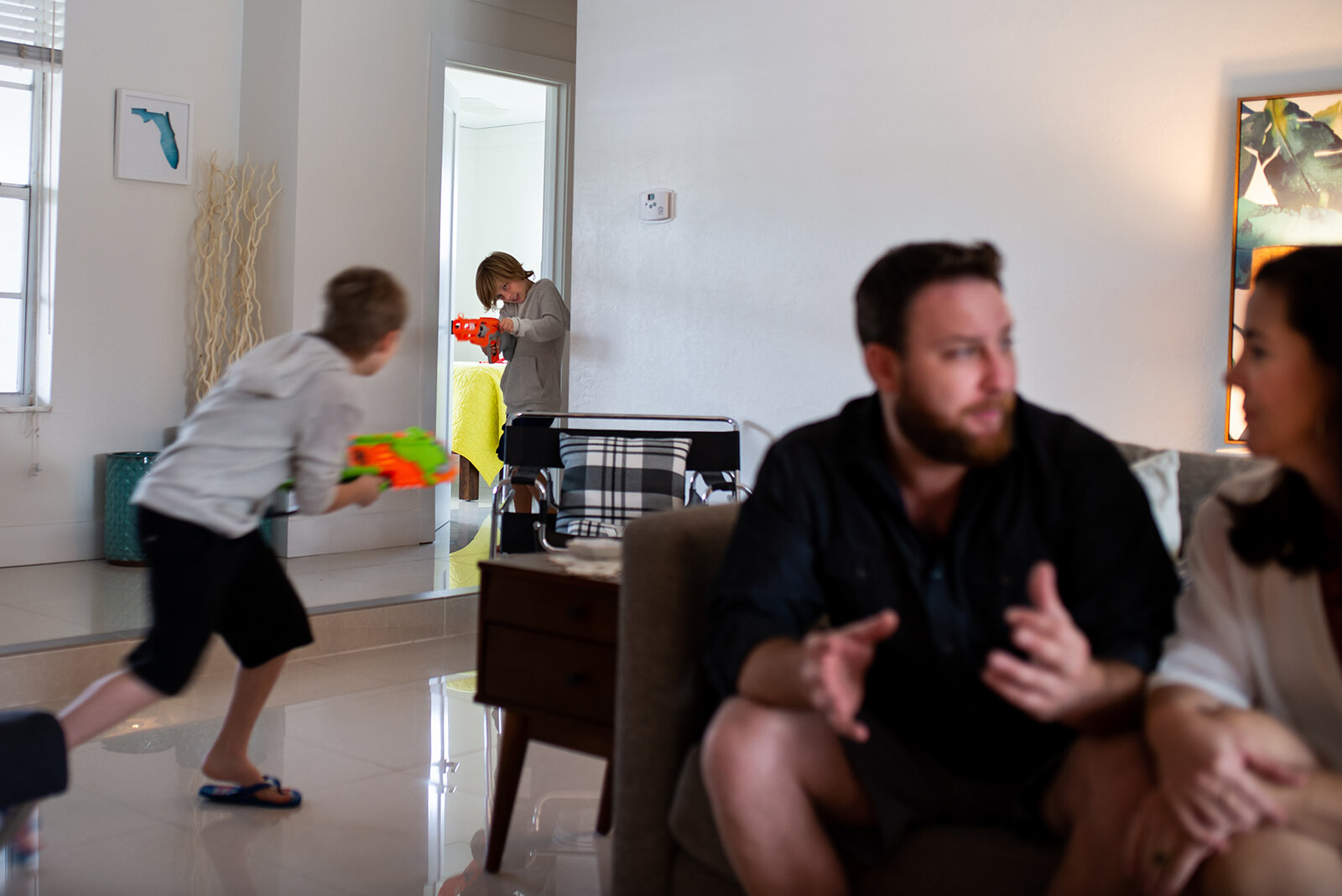 Nerf Gun Fights - Family Photography in Plantation FL