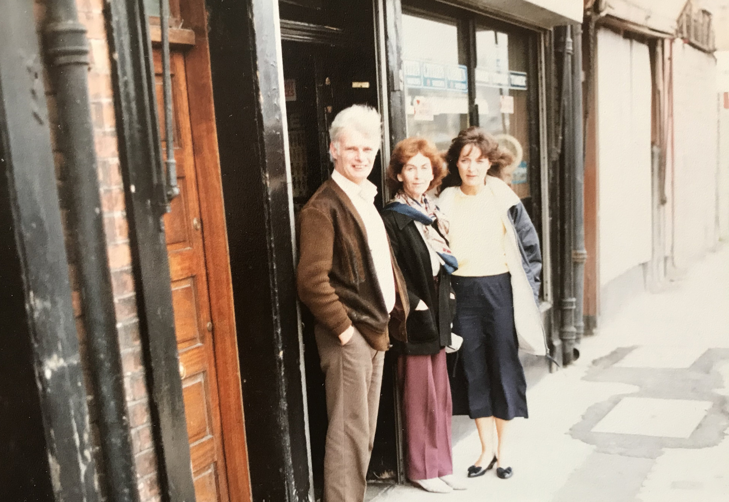 Elaine and the Madigans outside of their Jewellery Shop