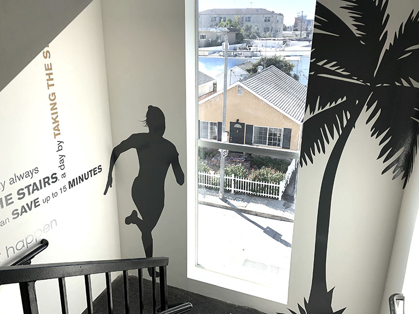 The Goldwyn Apartments - client: 10300 Venice LLC2018, Los Angeles, CaliforniaThe idea behind this project was to inspire residents to take the stairs. Based on our client's concept, we researched quotes from notable, influential people (Martin Luther King, Jr., Walt Disney, A.A. Milne, to name a few), and designed compositions for the north-side five-level interior stairwell. Material is laser-cut vinyl.See more…