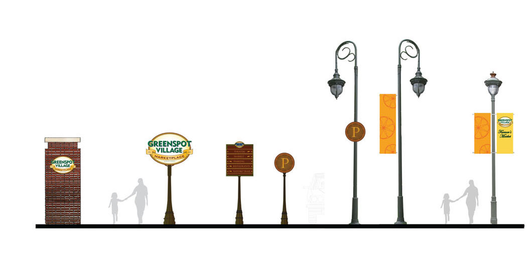 "Greenspot Village and Marketplace - client: Mission Development2005, Highland, CaliforniaHighland rode the growing citrus industry to become a small, closely knit bustling community and experienced its ""golden age"" that lasted from the 1880's through the 1930's.We drew our influences for the branding, signage and marketing collateral from this fertile period, including the citrus industry, railroad graphics, and early American print advertisements and visuals. See more…"