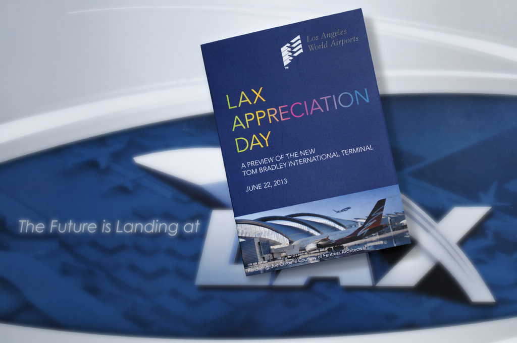LAX Appreciation Day - 2013, Los Angelesclient: Los Angeles World AirportsThousands of people attended the open house preview of the newly redesigned Tom Bradley International Terminal during LAX Appreciation Day, June, 2013.Waking State Design branded the event and designed all associated print and electronic graphics. Visitors were given LAX Appreciation Day passports that were stamped as they visited the various showcased art and design elements of the new terminal. Print and electronic ads were prominently featured in the major local newspapers.