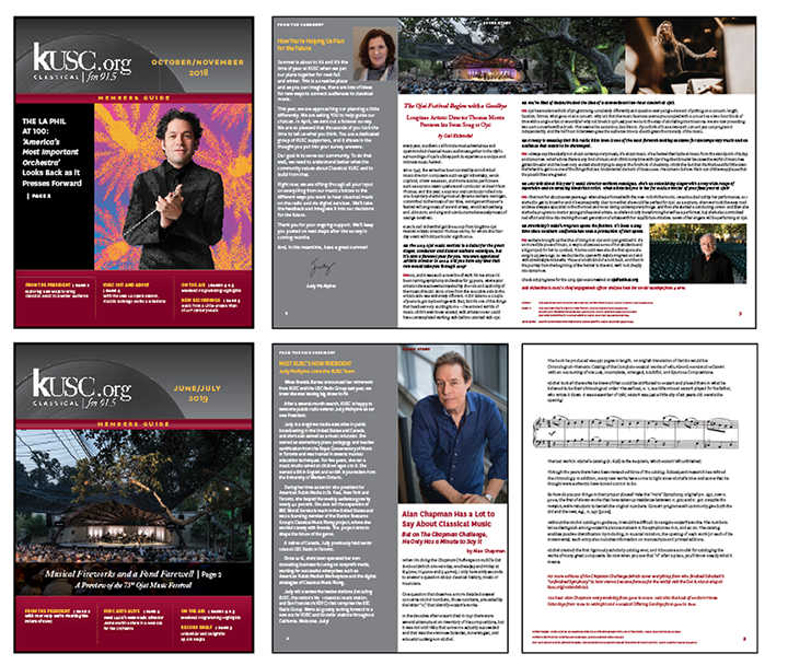 KUSC Radio Station - Since 2014, we have been designing the KUSC Radio Station's Member Guide, a bi-monthly newsletter, both a print and electronically distributed publication.