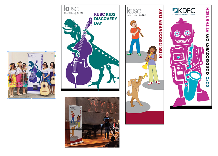 KUSC Kids Discovery Day - We loved working with KUSC in creating the mascots for their Kids Discovery Day events at the Los Angeles County Museum of Natural History, the San Jose Museum of Technology, and most recently the Bowers Museum in Orange County!