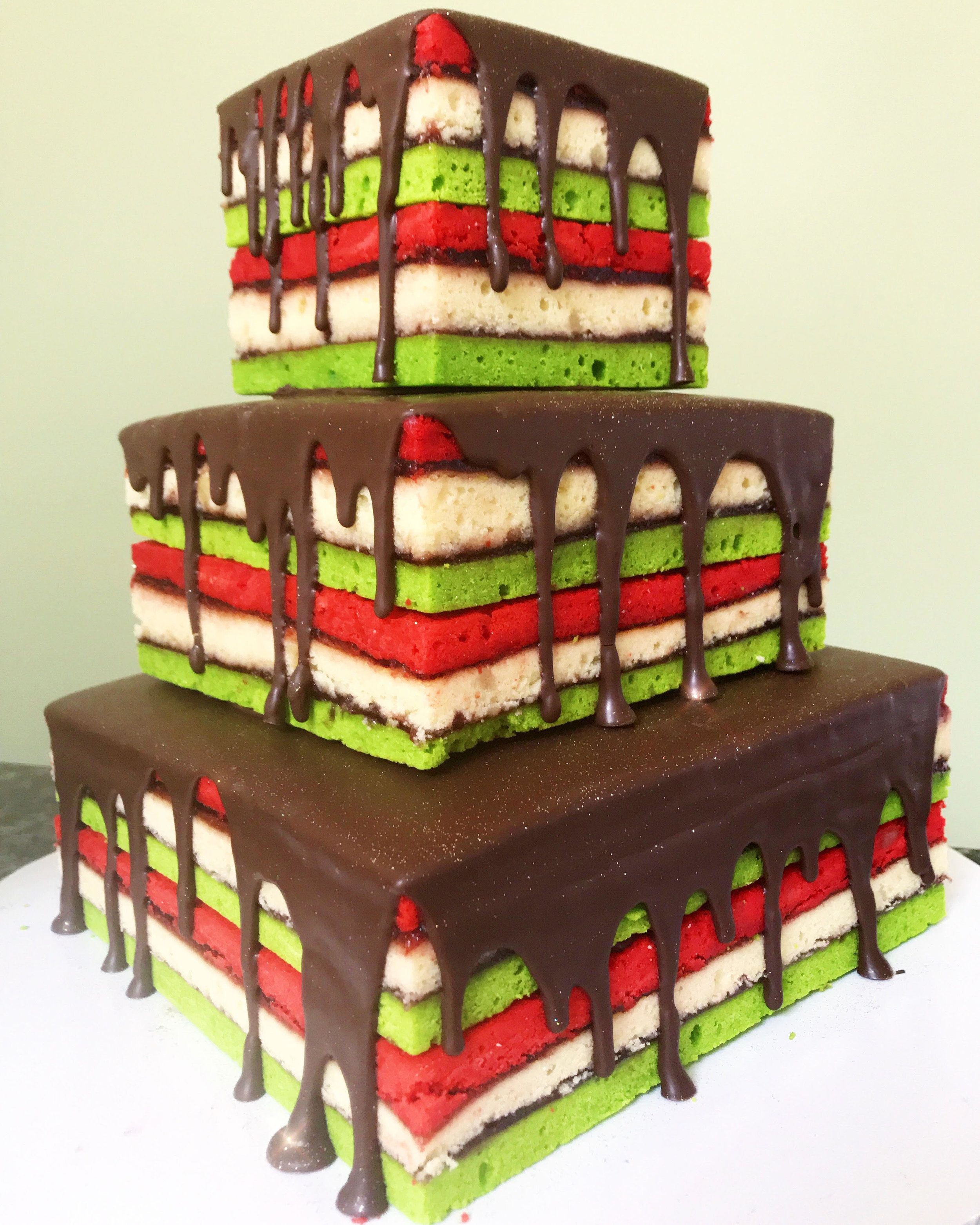 Tiered Tricolor Rainbow Cake
