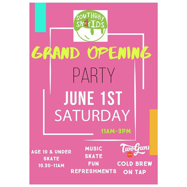 Mark your calendar! 🗓 Grand Opening this Saturday 6/1, 11am to 3pm! 🎉 🛹. We'll have Cold Brew Station provided by @twogunsespresso , face-painting, music and more! 🌟 Skating for kiddos under Age 10 from 10.30am - 11am.
