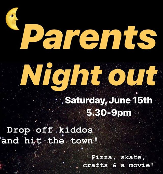 Hey Parents! It's our first ever PNO event. Drop off the kids this Saturday 6/15 from 5.30-9pm and hit the town! 💃🏻 🍻 We'll entertain your lil's with crafts, pizza, skate & a movie. 🍕 🛹 🖍 $50 for one child, additional $15 for sibling. Only 20 spots, sign up fast. Link in bio!