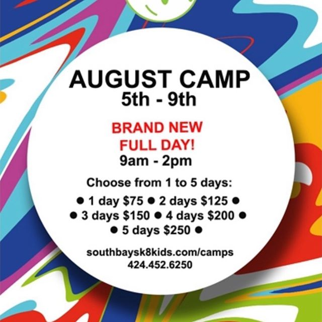 NEW NEW NEW! Full day camp starting in less than 2 weeks. August 5th-9th CAMP, choose from 1 to 5 days and now 9am to 2pm! 🙌🏻🛹Sign-up link in bio. Southbaysk8kids.com/camps