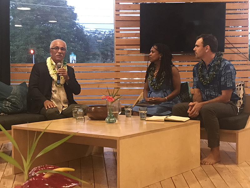 His Excellency, Anote Tong, with moderators, Maxine Burkett and Josh Stanbro at Ka Waiwai. Honolulu.