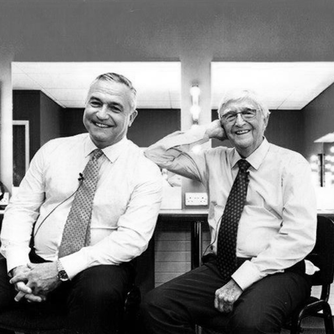 Sir Michael Parkinson and his son Mike