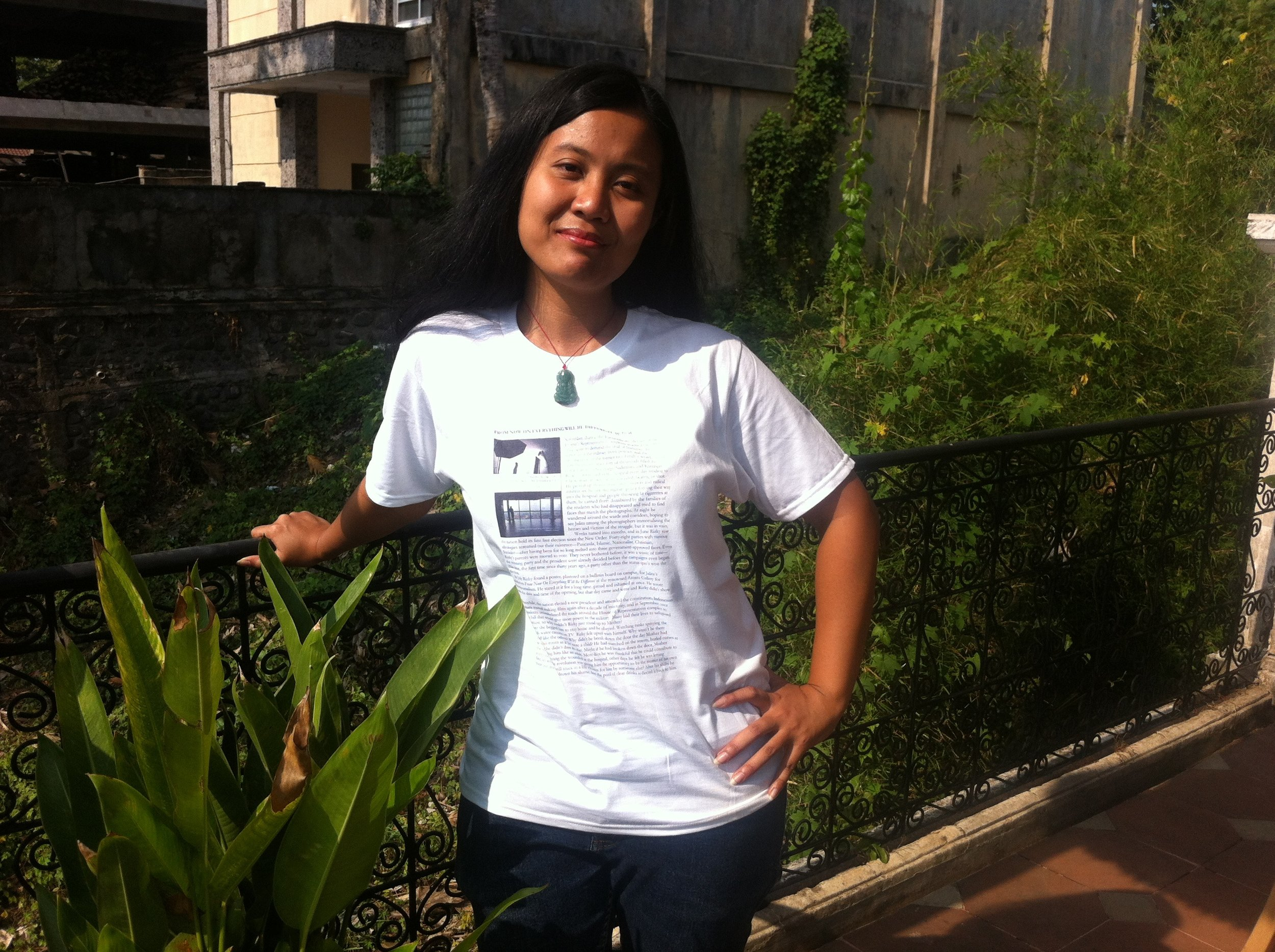 T-shirt to protest the cancellation of the launch of the novel  From Now On Everything Will Be Different:  Rp 150.000