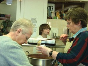 Preparing a meal to serve at the Bethany Center