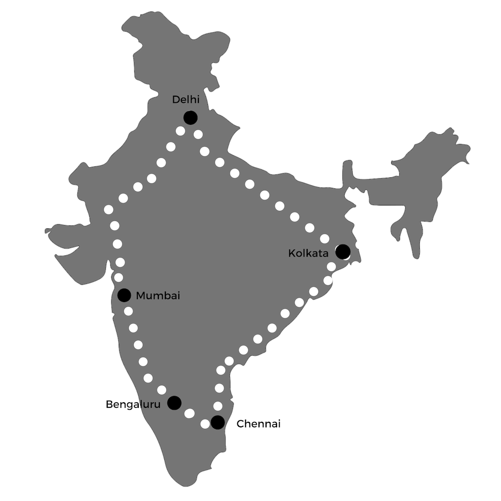 The SunPedal Route - We start our ride in Bengaluru on May 25th 2019, and proceed to Mumbai, Delhi, Kolkata, Chennai to finish finally in Bengaluru.Other major cities along the road are - Pune, Surat, Baroda, Ahmedabad, Jaipur, Gurgaon, Lucknow, Varanasi, Agra, Vizag, Nellore and Vellore.Check the trip plan below, and get in touch with us if you want to meet us and the tuk-tuk!