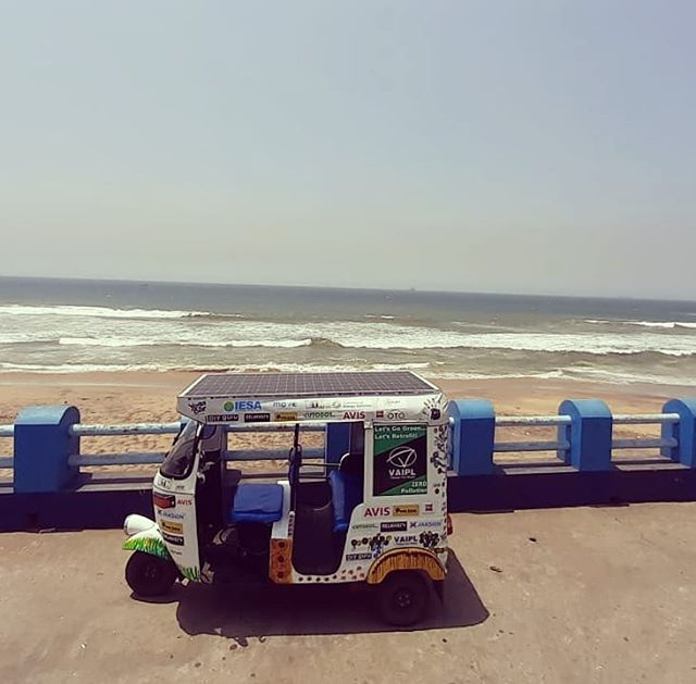 Cruising along the sunny east coast! The SunPedal Ride - Golden Quadrilateral journey on the VAIPL solar assisted retrofitted electric auto rickshaw is currently in Andhra Pradesh.  @avisrentalindia is supporting the journey of awareness and outreach of sustainable mobility #sustainability #sustainable #mobility #awareness #thesunpedalride