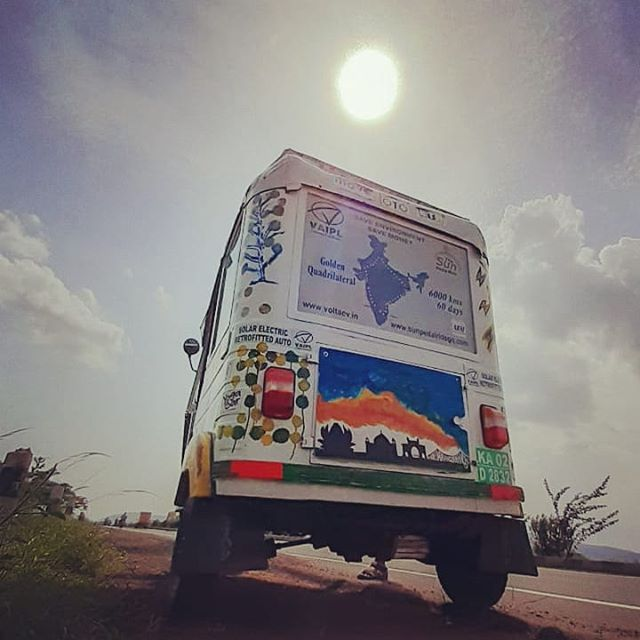 Day 52. 5500+ kilometres of ZERO emissions on the VAIPL solar assisted electric retrofitted auto rickshaw. The SunPedal Ride - Golden Quadrilateral is currently passing through the state of Andhra Pradesh. With the help and support of Mr. Prakash BVS (Bharat Energy Storage Limited), the team met the officials of NREDCAP (Renewable Energy Corporation of Andhra Pradesh) and the Joint Collector at Kakinada. Currently we are in Vijayawada.  Next destinations - Ongole, Nellore and Chennai.  @avisrentalindia @greenlightplanet @delhivery_official @ibisindia @oorjansolar  #sustainability #sustainable #energy #solar #electric #renewable #mobility #unsdg #sdg #andhrapradesh #vijayawada #India #thesunpedalride #goldenquadrilateral