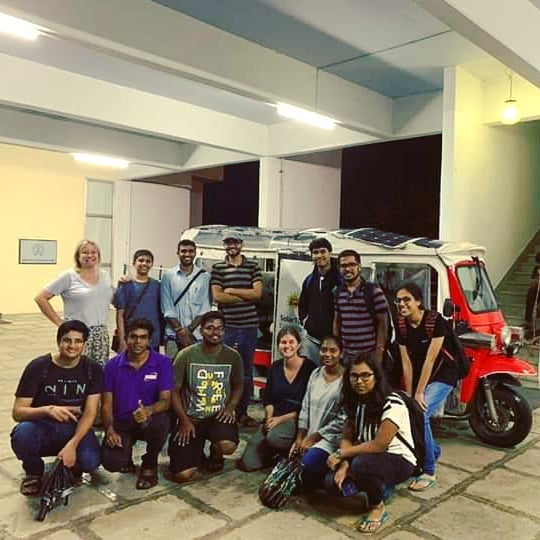 solartuk.org is an awareness and outreach journey on a clean energy vehicle started by Julian O'Shea in Australia. A solar electric tuktuk is touring the world while engaging in climate action discussions with relevant stakeholders. It was great to meet Talia Rose and Claire Jenkins in IIT Bombay who were driving the zero emissions vehicle as a part of the India leg from Chennai to Mumbai.  The @solartukexpedition team is looking for volunteers who can be part of this epic journey in the upcoming countries - Iran, Turkey, Europe and USA.  #solar #sustainable #sustainability #mobility #clean #zeroemissions