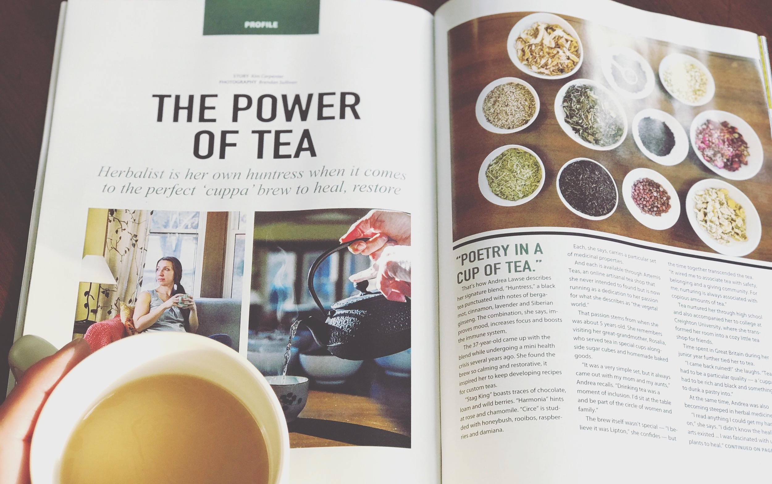 Omaha Inspired Living Magazine: Artemis Teas - There are many paths that have converged, leading me to create Artemis Teas. This lovely article in Omaha Inspired Living Magazine expresses in a beautiful way one of those early paths . . .