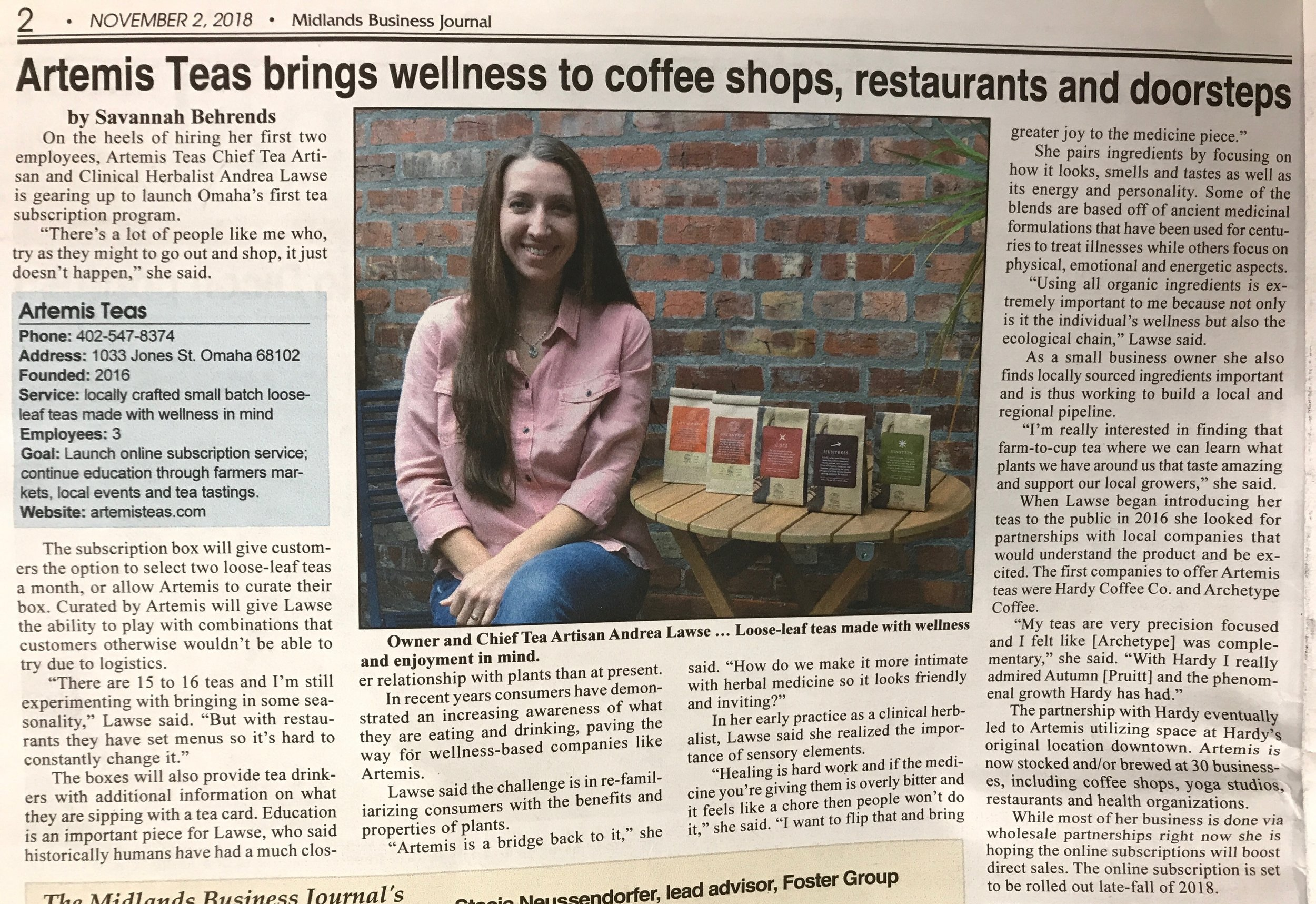 Midland's Business Journal - A delightful feature in the November 2, 2018 edition of Midland's Business Journal, focused on the launch of our subscription Tea Parcels.
