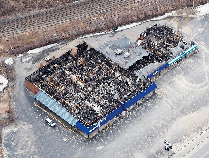 West Valley Shopping Center in Fitchburg, Massachusetts suffered a complete loss due to a four-alarm fire.