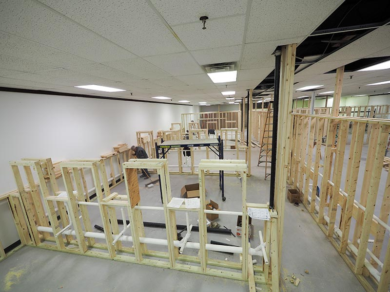 The cosmetology school's new Lunenburg, Massachusetts location under construction.