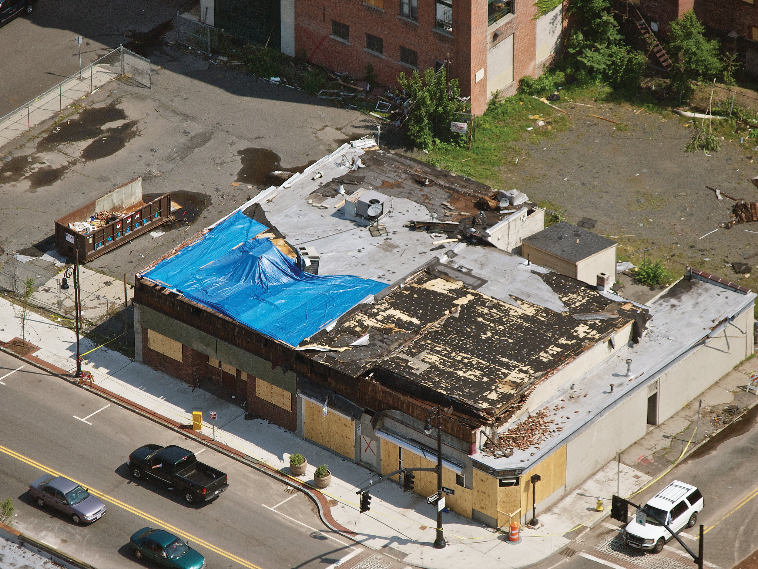 A Tornado Damaged This Commercial Building in Springfield, MAssachusetts.