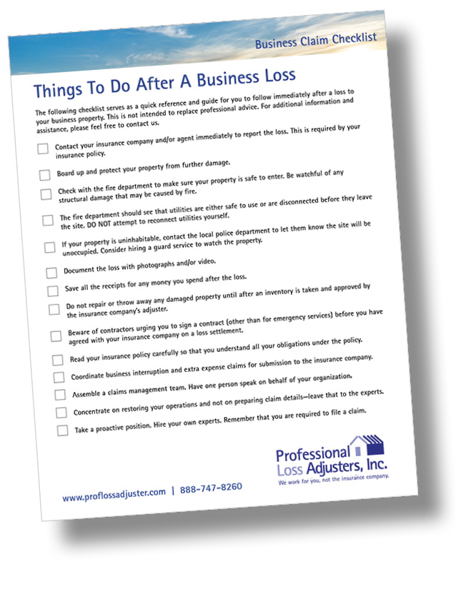 Business Claim Checklist | Professional Loss Adjusters