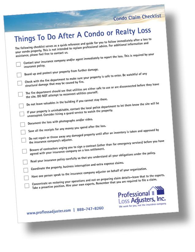 Condominium Claim Checklist | Professional Loss Adjusters