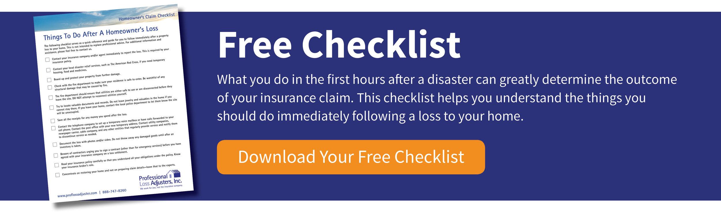 Homeowner Claim Checklist | Professional Loss Adjusters