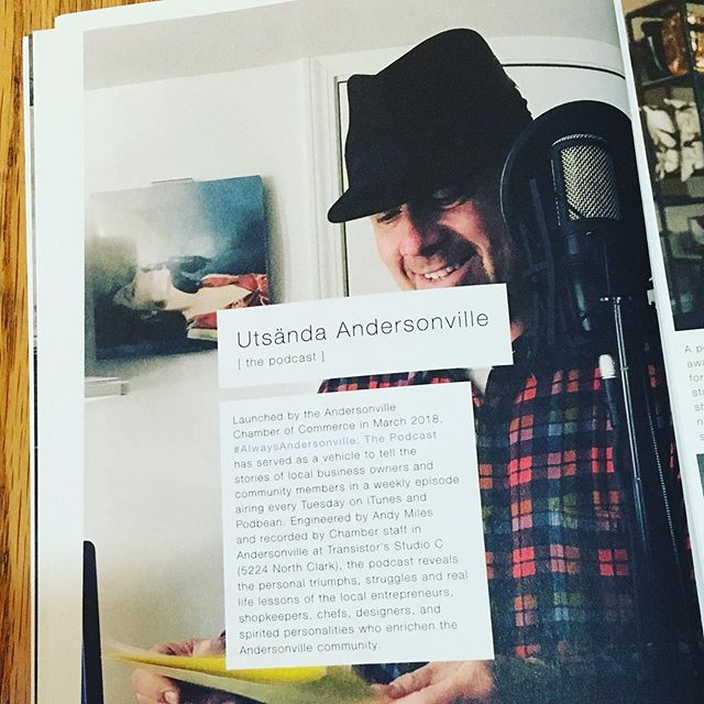 Glad to see PJ Harvey make an appearance in this year's (amazing) Andersonville neighborhood guide. She's hanging on the wall over the shoulder of Randy Heite, who was in the studio last December to record a reading of 'Twas The Night Before Christmas for the Always Andersonville podcast (which this page in the guide is promoting). #pjharvey #studiocchicago #alwaysandersonville #alwaysandersonvillepodcast #transistorchicago #tobringyoumylove