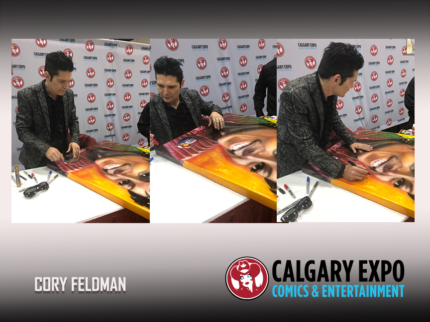 Michael Jackson , Cory Feldman signed Celebrity art by Chris Tutty
