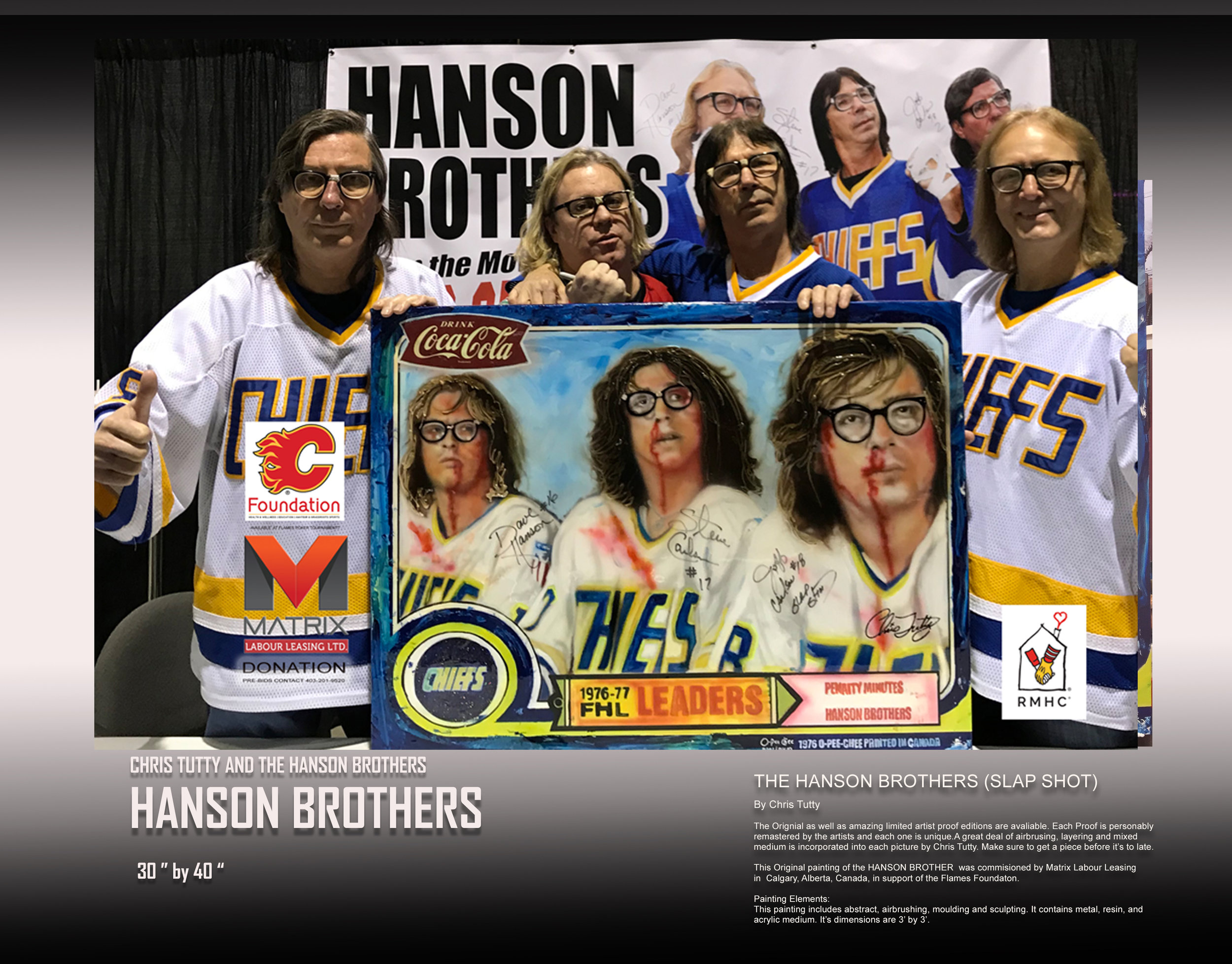 Hanson brothers Celebrity signed art by Chris Tutty