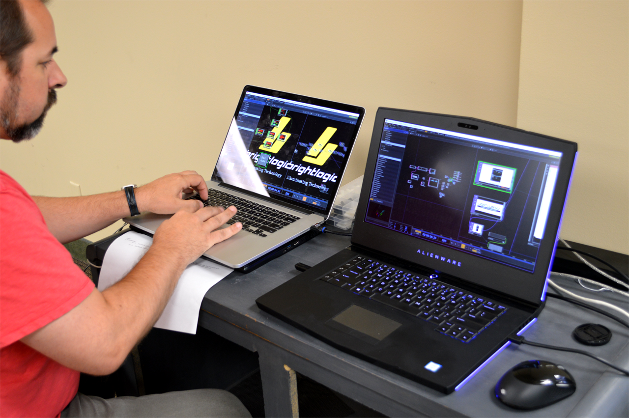 Adrian tweaking content with TouchDesigner for our ActiveFloor™ System.