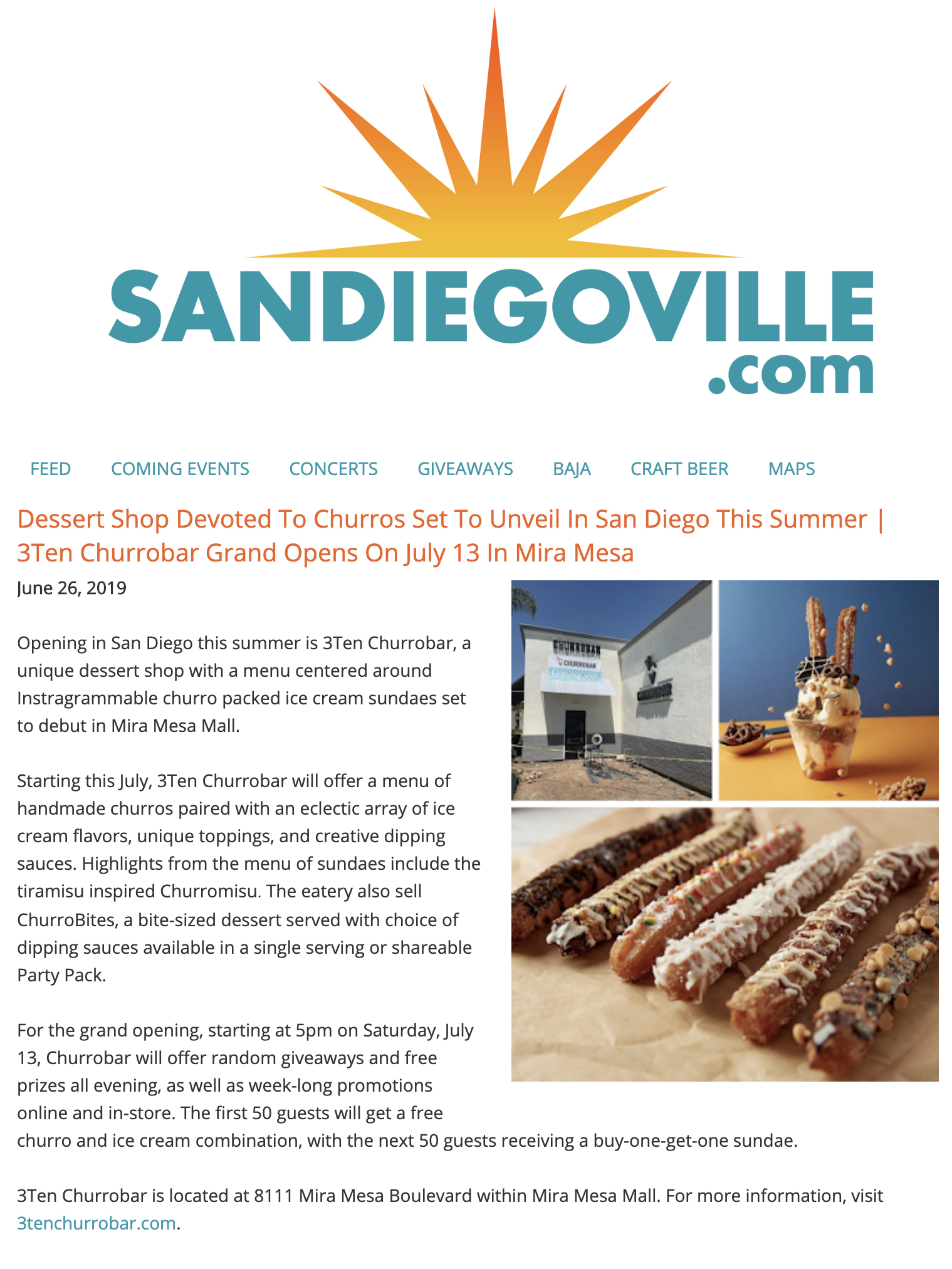 SANDIEGOVILLE.COM - DESERT SHOP DEVOTED TO CHURROS SET TO UNVEIL IN SAN DIEGO THIS SUMMER | 3TEN CHURROBAR GRAND OPENS ON JULY 13 IN MIRA MESA