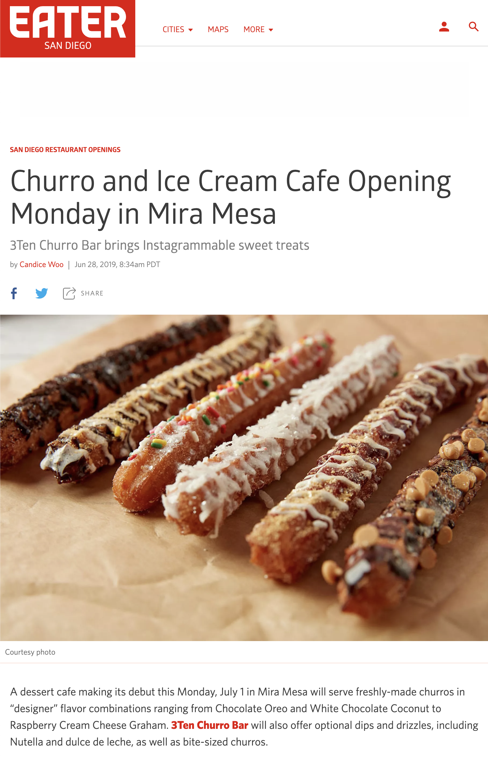 EATER SAN DIEGO - Churro and Ice Cream Cafe Opening Monday in Mira Mesa
